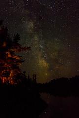 Night Watch (SavingMemories) Tags: longexposure sky lake ontario canada night stars lowlight glow shadows campfire nightlight britt nightwatch northernontario milkyway savingmemories grundylakeprovincialpark suemoffett