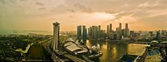 Sunset at Marina Bay (Kasun Fernando) Tags: sunset architecture modern flyer singapore marinabay singaporecity singaporeflyer