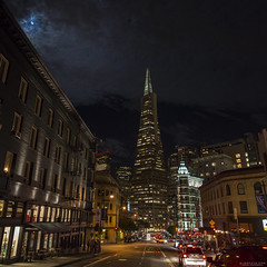 friday night lights | san francisco (elmofoto) Tags: sf sanfrancisco city columbus moon skyline night clouds skyscraper square lights nikon traffic pyramid drink fullmoon northbeach pedestrians moonlight click sfbayarea transamerica littleitaly avenue highiso fridaynight d800 500x500 fav25 1424 iso2000 nikond800 elmofoto drinkandclicksf forcurators