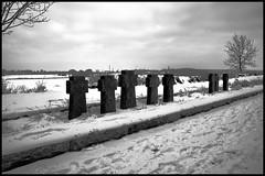 (Jean-Luc Lopoldi) Tags: blackandwhite bw snow cold graveyard dead noiretblanc military footprints crosses german neige froid contrejour croix morts allemand pasdecalais