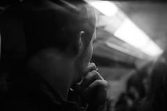 Tube (forayinto35mm) Tags: blackandwhite man london film 35mm pentax tube londonunderground pentaxmesuper ilford fp4 ilfordfp4 ilfordfp4plus manthinking