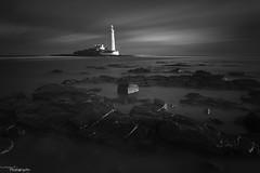 The Lighthouse (Dave Brightwell) Tags: longexposure sea sky bw lighthouse seascape canon mono rocks northumberland stmarysisland davebrightwell