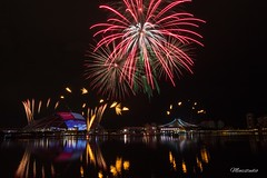 Fireworks Galore (Kester Chan) Tags: cityscapes city fireworks reflection water colors colorful reflections sport sportshub stadium singapore longexposure nightphotography night nightlights urban architecture