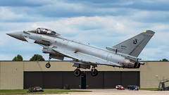 Eurofighter Typhoon EF2000 RS-23 of Aeronautica Militare (EJ200) Tags: eurofightertyphoon ef2000 typhoon aeronauticamilitare aeronautica militare frontlinefighter jetfighter rs23 raffairford england italianairforce italy unitedkingdom landing twinjet supersonic