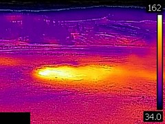 Thermal image of Improbable Geyser (morning, 11 June 2016) 1 (James St. John) Tags: improbable geyser hill group upper basin yellowstone hotspot volcano wyoming hot springs thermal image temperature