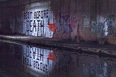 Best Before Death, Birmingham (Sean Hartwell Photography) Tags: bestbeforedeath birmingham canal spaghetti junction aston graffiti water reflection urban decay grit city innercity