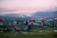 Mountain Mood (Thousand Word Images by Dustin Abbott) Tags: canonefm28mmf35macroisstm lens mist atmosphere twilight adobelightroomcc 2016 mirrorless sunset village monttremblant alienskinexposurex summer mountain dustinabbottnet canoneosm3 travel thousandwordimages photography comparison review adobephotoshopcc test quebec canada photodujour dustinabbott qubec ca pedestrianvillage tremblant