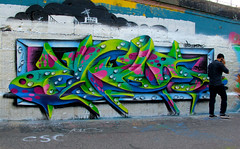 Vienna, Austria, 2016 (kezam) Tags: kezam kzm graffiti 3dgraffiti flickrgraffiti vienna austria wien 3d green blue friendly monster cell phone skull hole chrome donaukanal kanal water bugs viennagraffiti montanablack streetart