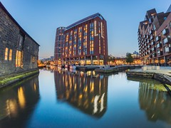 Doubletree by Hilton (explored) (AngelCrutch) Tags: leeds water canal reflections night evening bluesky lights doubletree hilton boats westyorkshire yorkshire uk britain england city