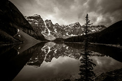 Moraine Lake BW (TheReilDeal) Tags: banff banffnationalpark morainelake valleyofthetenpeaks mountains lake glacier alberta blackandwhite reflection