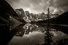 Moraine Lake BW (TheReilDeal) Tags: banff banffnationalpark morainelake valleyofthetenpeaks mountains lake glacier alberta blackandwhite reflection