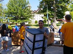 P1260715 (Widener University) Tags: movein studentmoveinday freshmanmoveinday freshman transfer boxes bins unload volunteers faculty staff