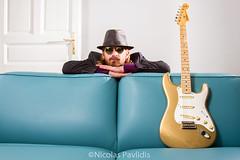 Waiting For The Gig (Nicolas Pavlidis) Tags: 24105 eos7d sunglasses canonphotography electricguitar fender guitar guitarist hat selfportrait selfie sofa stratocaster strobist