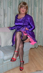 5 Can I do you now Sir (janegeetgirl2) Tags: transvestite crossdresser crossdressing tgirl tv ts stockings heels garters nylons glamour petticoat purple red satin dress stilettos fully fashioned high vintage seams maid black suspenders jane gee