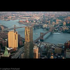 Two Bridges (widdowquinn) Tags: brooklyn brooklynbridge eastriver financialdistrict frankgehry gehry lowermanhattan manhattan manhattanbridge nycsunset newyork newyorkcity usa unitedstates wtc1 wtcone architecture buildings sunset