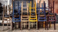 Sedie accatastate (Martina Franca) (WWL writing with light) Tags: hdr ristorante martina franca puglia sedie wwl