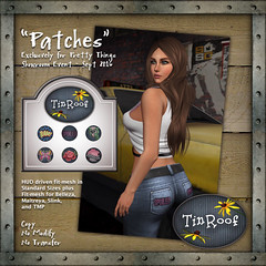 """TinRoof """"Patches"""" jeans (TinRoof Second Life Fashion) Tags: tinroof secondlife fitmesh fitted mesh jeans hud denim patches pockets fashion"""