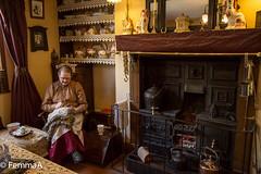 Victorian Grandma (femmaryann) Tags: victorian grandma ragrugmaker range castiron castironrange indoor kettle copper copperkettle ragrug fire grate china dogs porcelain craft handicraft