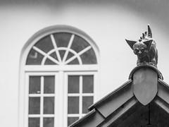Wet monster on roof / Nasses Dachmonster (schauplatz) Tags: regen spaziergang stuttgartrohr schwarzweis schwarzweiss blackandwhite blackwhite monster figure