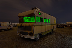 say my name. mojave desert, ca. 2012. (eyetwist) Tags: eyetwistkevinballuff eyetwist night winnebago breakingbad heisenberg rv rusty grille decay junkyard nikon nikond7000 d7000 nikkor capturenx2 1024mmf3545g fullmoon photography dark longexposure moonlight moonlit npy nocturne highdesert mojavedesert mojave desert california derelict long exposure bumper wideangle wide star trails startrails wrecked faded patina weathered lightpainting glow old dusty american west hollywoodrentals car rust hood headlights anthropology america shadow stained green bago walterwhite methlab meth recreationalvehicle badthings