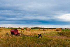 Autumn Mood Part II (Nelepl) Tags: sickle mover manitoba canada hay straw bales forest autumn fall foliage hills prairies countryside travel mood