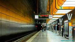 Hamburg, Germany: Hafen City Station, Line U-4 with changing colors (nabobswims) Tags: de deutschland germany hdr hafencity hamburg highdynamicrange lightroom lineu4 metro nabob nabobswims photomatix sonya6000 station subway ubahn universitt