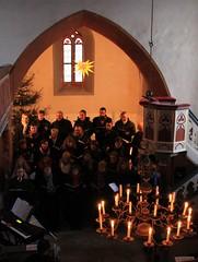 (:Linda:) Tags: people music church lamp choir germany advent candle village singing thuringia chandelier herrnhuterstern singer inside christmastime kronleuchter brden churchinside