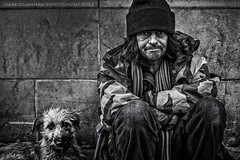 Hard Times (Mark Crawshaw) Tags: portrait dog male sheffield homeless streetphotography streetlife blackandwhitephotography hardtimes canon5dmarkii markcrawshawphotography