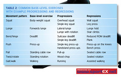 Common base-level exercises  with example progressions and regressions (sportEX journals) Tags: medicine physiotherapy rehabilitation sportex