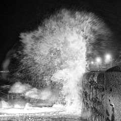 Water Bomb (Aussie.in.Guernsey) Tags: blackandwhite water wave olympus bomb guernsey omd 25mm em5 leicadsummilux25mmf14 silverefexpro2