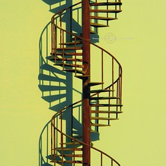 Metal DNA (Fortunes2011 'distinction in contrast') Tags: light shadow color stairs nikon rust rustic naturallight shade dna handrails metalstairs emptystairs roundstairs photoscape nikoncoolpixl120 fortunes2011 macropixcom