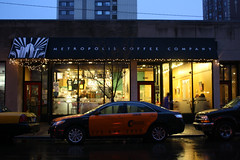 Major Metropolis (Flint Foto Factory) Tags: christmas city morning autumn winter urban orange holiday chicago black fall coffee lights illinois am cafe december granville cab taxi winthrop side profile north broadway illumination neighborhood company storefront toyota metropolis sheridan kenmore edgewater camry 2012