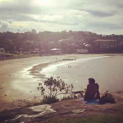 Balmoral Beach by Mosman. (_kailao) Tags: sky cloud sun man tree beach water sand sydney