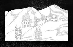 COLINA NEVADA (Rafael Morales Cendejas) Tags: mxico industrial nieve nevada paisaje drawn colina mdf gdl carpinteria acrilico puntos cuaad mxic brocado rafaelmc