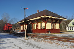 Picturesque Potter Place (photoman82) Tags: old railroad winter snow cold ice station snowy newengland newhampshire sunny nh andover historic caboose clear trail trainstation bm restored depot preserved icy railtrail railroaddepot bostonandmaine potterplace