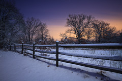 Mid-Winter's Night (Luke Hertzfeld) Tags: park trees winter ohio sky snow nature clouds fence outdoors fullmoon environment wilderness oakopenings