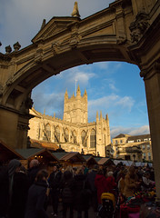 Bath Abbey and Christmas Market (Vibrimage) Tags: winter summer eos bath somerset christmasmarket bathspa winterlight romanbaths bathabbey wintersunshine bathstone canon24105mmf4 5d3 canon5dmark3
