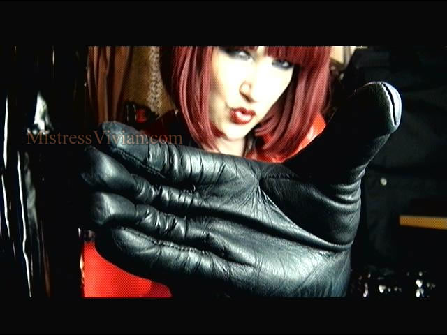 Leather gloves fetish mistress