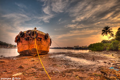 Rust In Peace (Popeyee) Tags: vascodagama shippingport goa india vasco da gama port ship shipping rust old rusting water sea harbour sun sunrise morning golden hour hdr tone mapped tonemapped canon flickr popeye indian desi beach beaches sunset sky seascape beauty beautiful amazing awesome miramar ocean cloud clouds color colorful colour colourful sand evening dusk 2012 2013 photo photos image images picture pictures bild foto gallery gallary album southern photography photographer popeyee