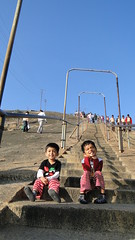 Shravanbelagola - Kids taking a break while climbing Vindhyagiri hill