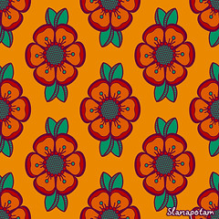Fashion pattern with flowers in retro color (Slanapotam) Tags: light summer wallpaper abstract flower color green art texture geometric floral fashion circle paper print design leaf colorful pattern dress graphic bright teal background decoration style wrap symmetry retro petal textile fabric jade round backdrop symmetrical cloth shape simple emerald vector seamless repeat endless regular