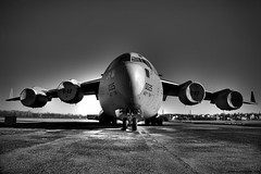 The Globemaster III (Award Photography) Tags: ohio monochrome museum photoshop d50 airplane nikon display edited aircraft military transport static c17 globemaster amc airforce usaf hdr dayton edit afb airlift tonemapped photomatrix nikonflickraward photographyforrecreation