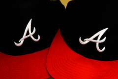 Hats of the Brave (Maggggie) Tags: braves hats caps baseball atlanta red white a odc
