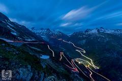 Beleuchtete Passstraen (MD-Pic) Tags: schweiz swiss switzerland nikon d7100 landschaft landscape langzeitbelichtung longexposure lichtspuren lighttrails rhonegletscher