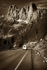 Summer Road Trip (EdBob) Tags: travel traveling trailer auto car northcascadeshighway northcascades highway20 mountains spires highway summer summertime vacation pass washingtonpass rainypass blackwhite blackandwhite bw sepia clouds sky edmundlowephotography edmundlowe edlowe toned allmyphotographsare©copyrightedandallrightsreservednoneofthesephotosmaybereproducedandorusedinanyformofpublicationprintortheinternetwithoutmywrittenpermission trip mountainpass peak snow libertybell wwwedmundlowephotocom