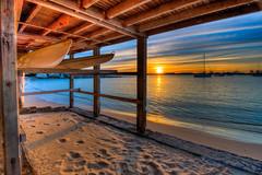 Sunset La Perouse Sydney (600tom) Tags: sunrise la perouse sydney australia timber boats kyacks sun golden water ocean sand beach vivid beautiful posts yatchs clouds streaks botany bay deck