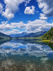 Clouds, reflected (E li s a beth) Tags: rosslake northcascades lake clouds sky water