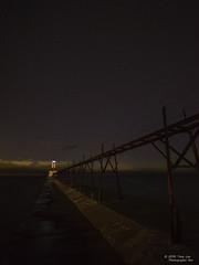 Lighthouse & the Stars (Tony Lau Photographic Art) Tags: saint joe joseph michigan lighthouse great lakes stars night sky pure berrien county 2016 pier fishing catwalk photography