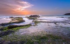 Sunset At Rocky Land (arq.alextoro) Tags: acantilado atardecer atardeceres braketing cliff colombia contraluz guajira landscape landscapes olas paisaje paisajes sea sunset musgo ocaso seascape