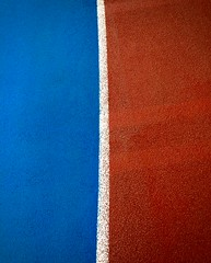 Voice of Ire (evanffitzer) Tags: running track line iphone6 voiceoffire colour blue white red rubber ire kamloops tcc run oval circle art abstract indoors iphonography